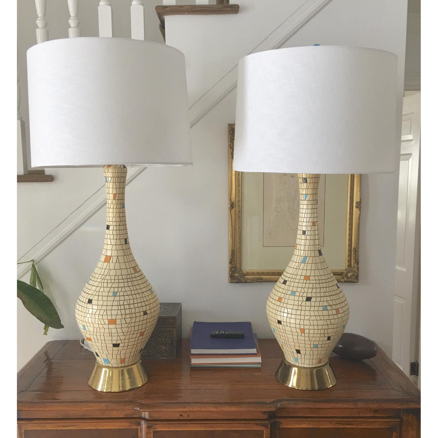 Bitossi Inspired Large Mosaic Table Lamps - image-0