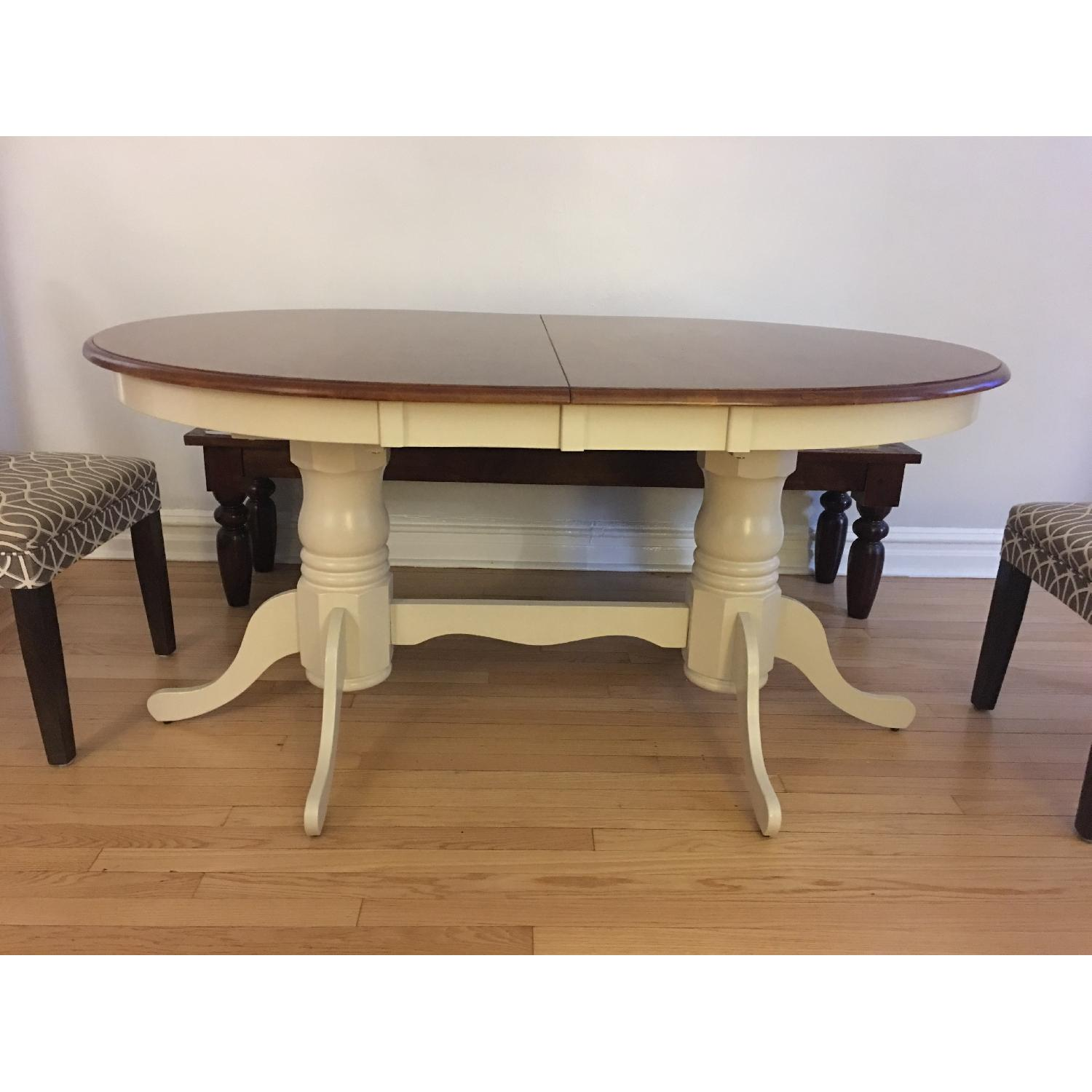 French Dining Table in Antique White/Chestnut - image-1