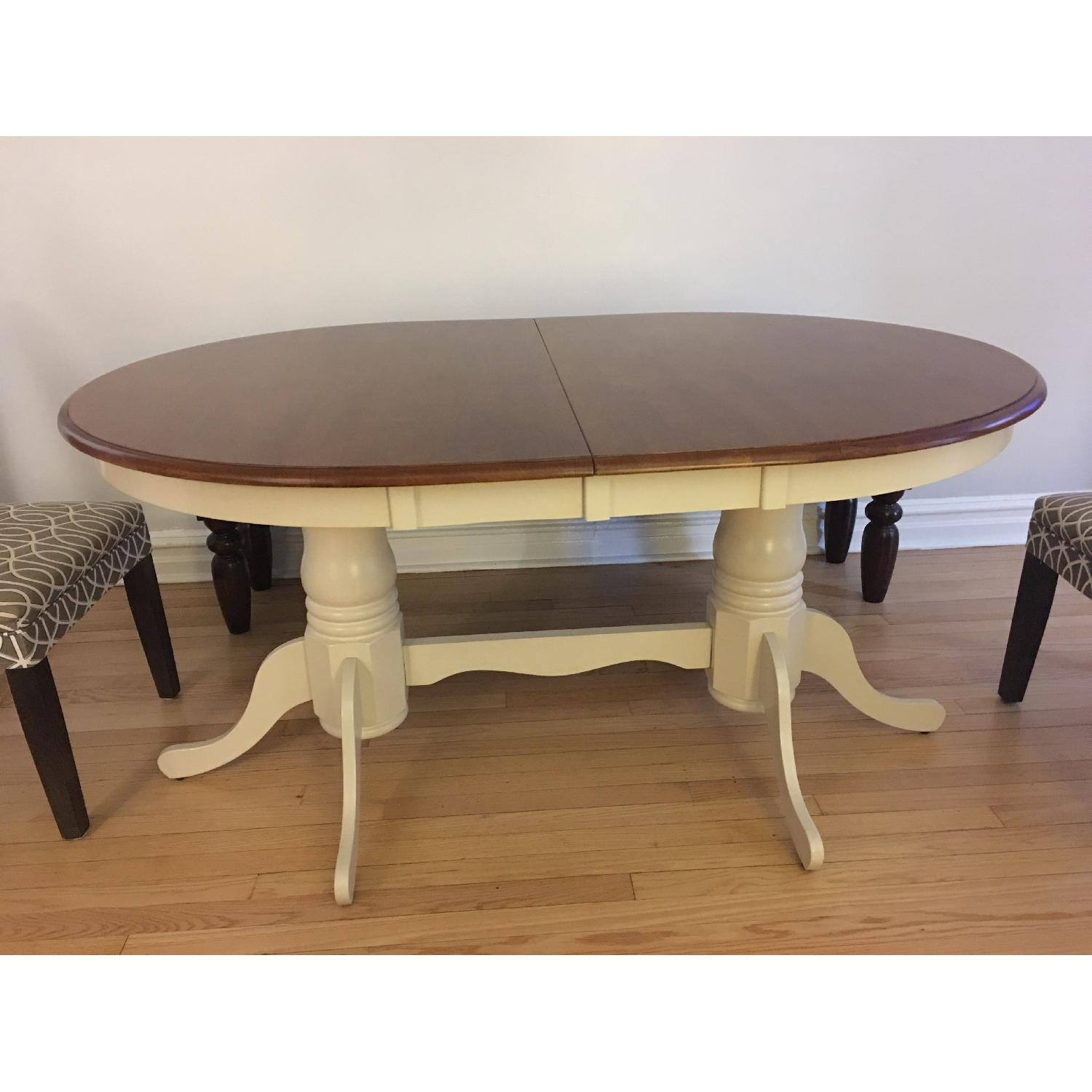 French Dining Table in Antique White/Chestnut - image-3