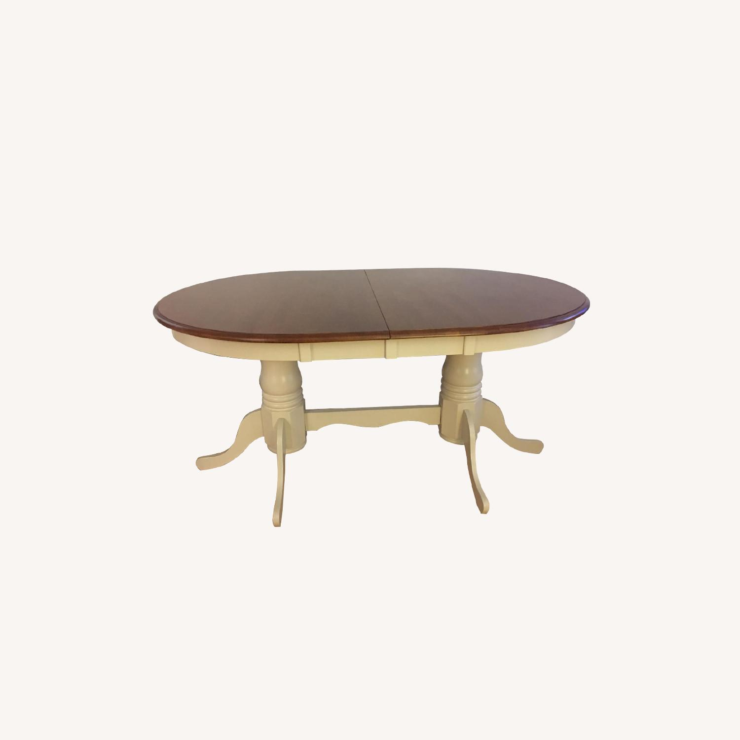 French Dining Table in Antique White/Chestnut - image-0