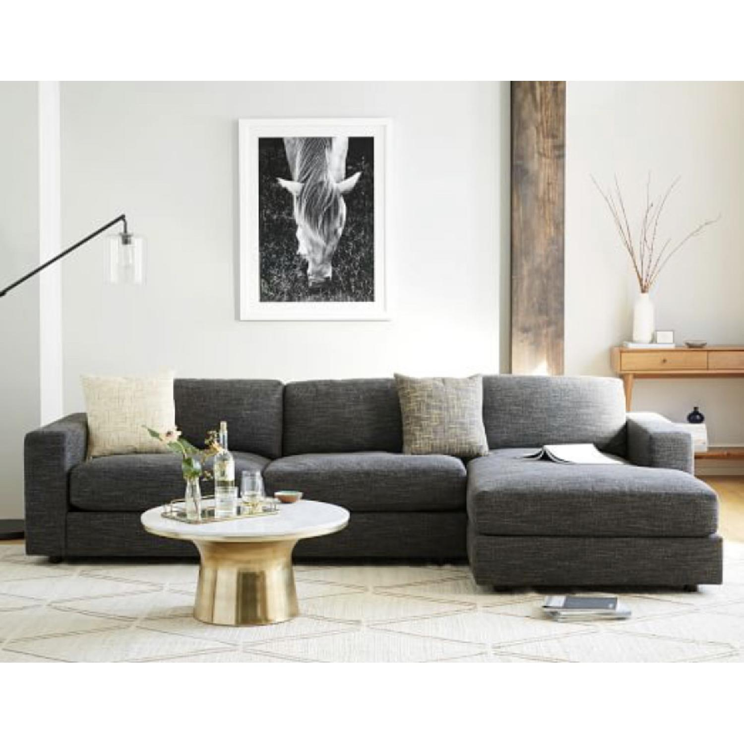 Awesome West Elm Urban 2 Piece Small Chaise Sectional Sofa Aptdeco Andrewgaddart Wooden Chair Designs For Living Room Andrewgaddartcom