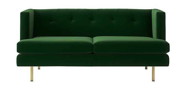 CB2 Avec Emerald Green Apartment Sofa w/ Brass Legs