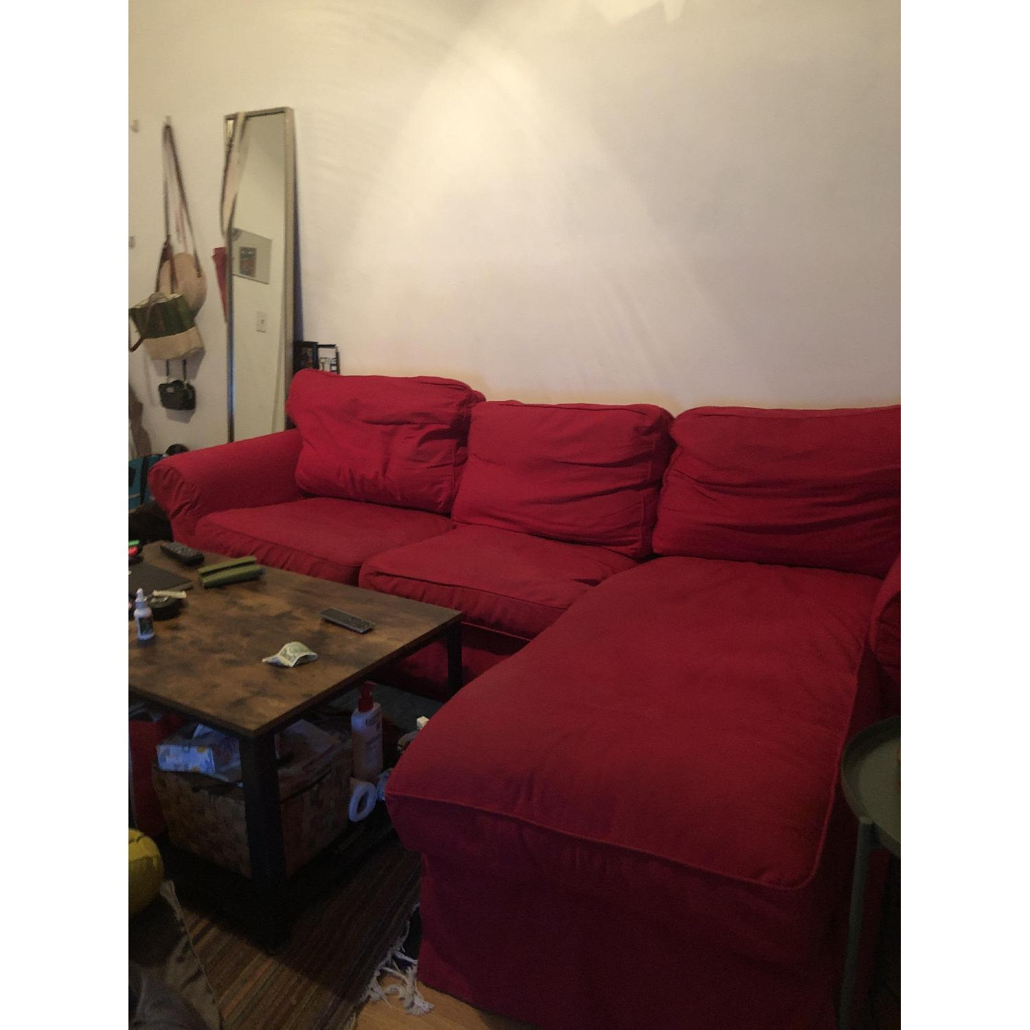 Red L Shaped 3-Piece Sectional Sofa - image-2