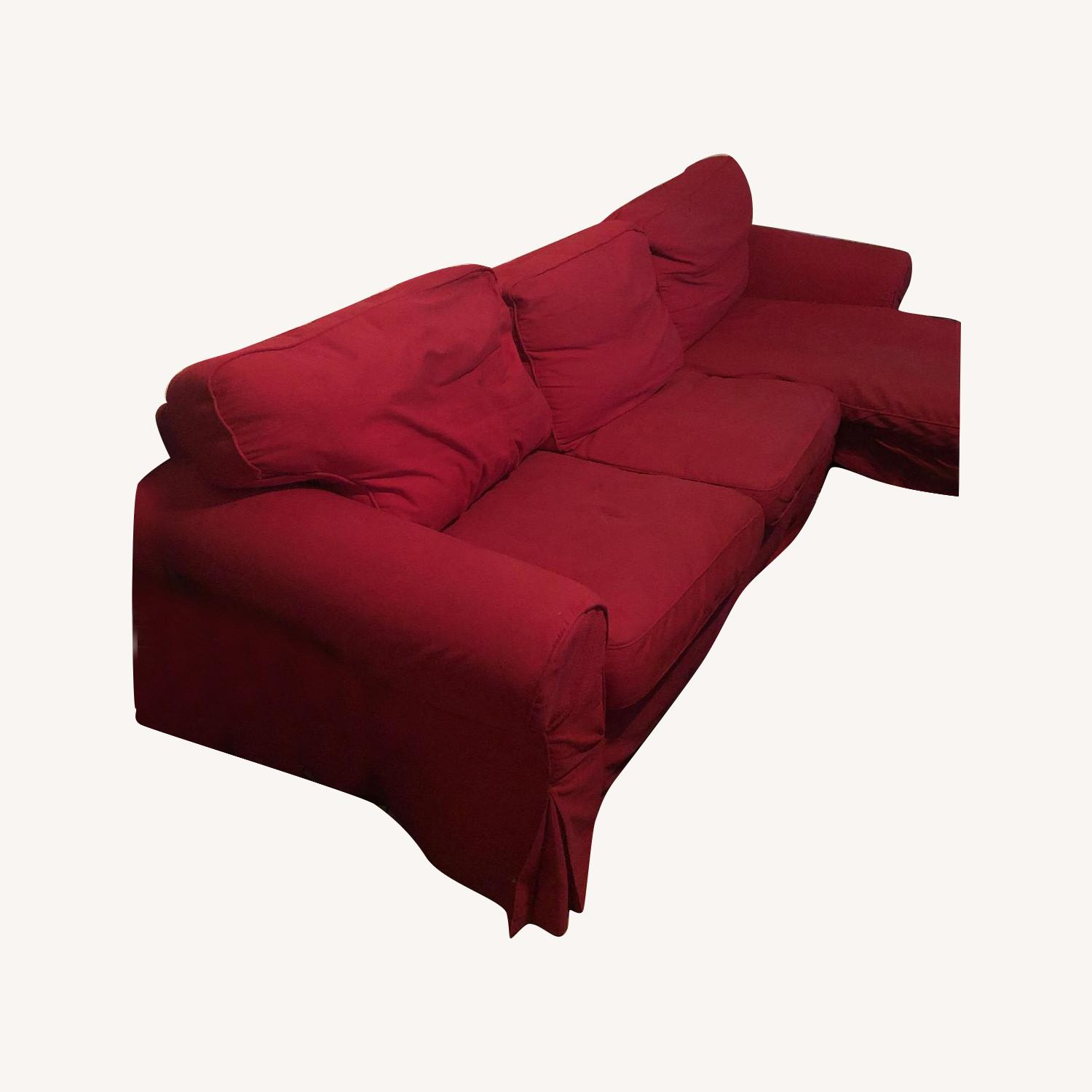 Red L Shaped 3-Piece Sectional Sofa - image-0