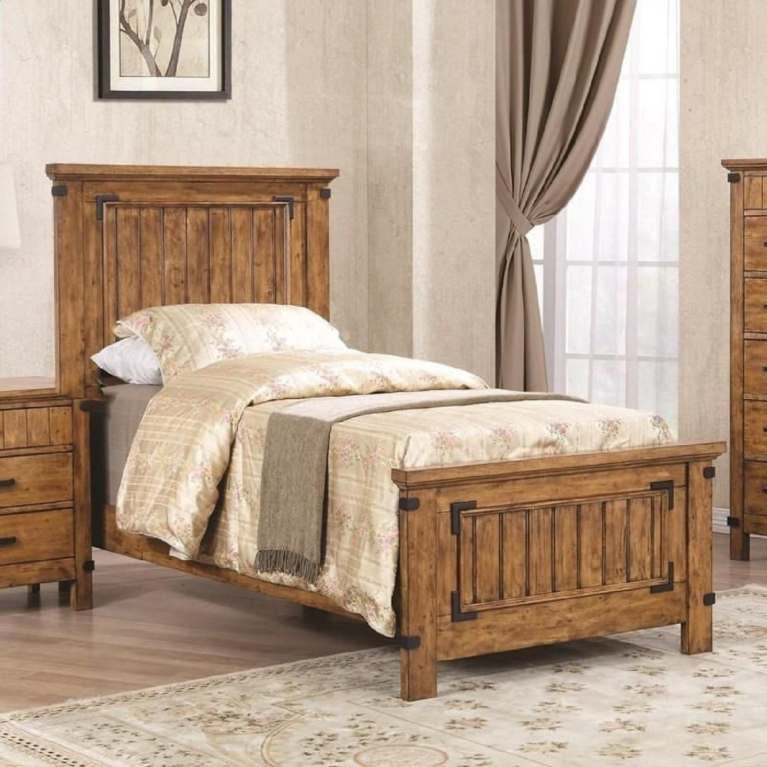 Rustic Style Twin Bed in Warm Honey Brown Finish - image-3