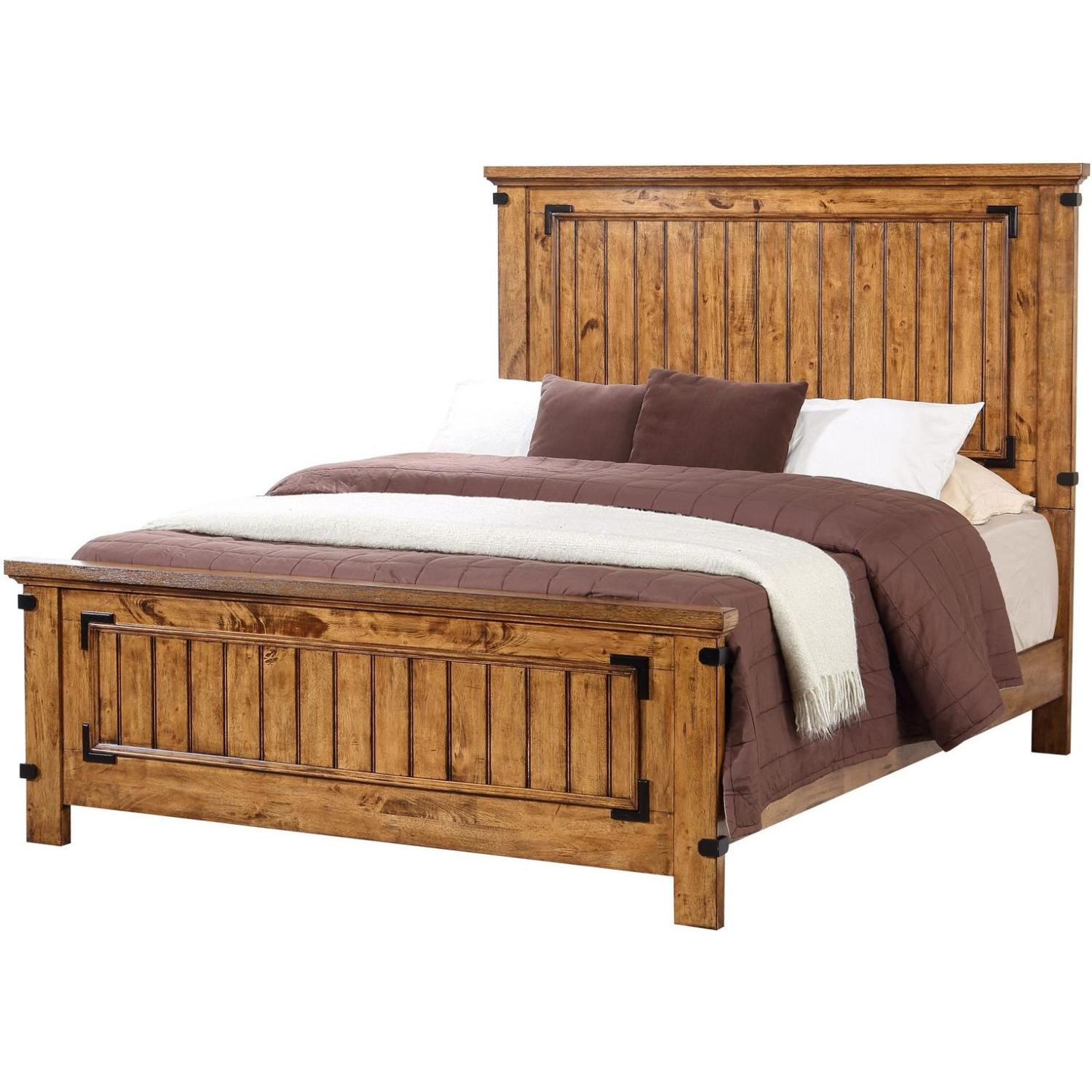Rustic Style King Bed in Warm Honey Brown Finish - image-0
