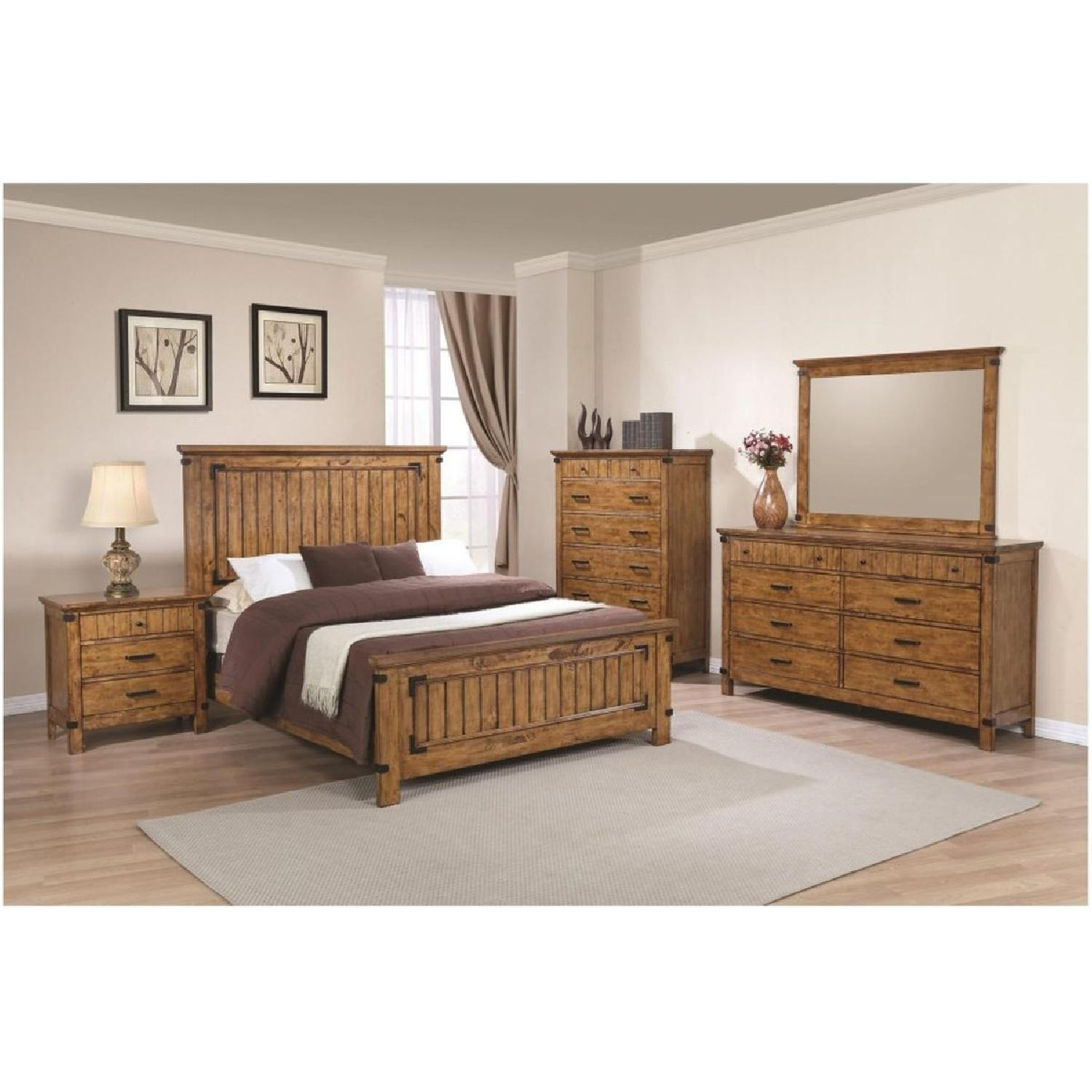 Rustic Style King Bed in Warm Honey Brown Finish - image-1