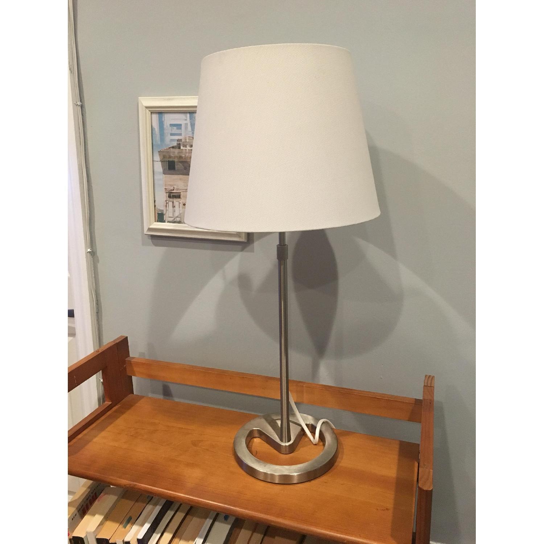 Metal Base Table Lamp w/ Linen Shade - image-1