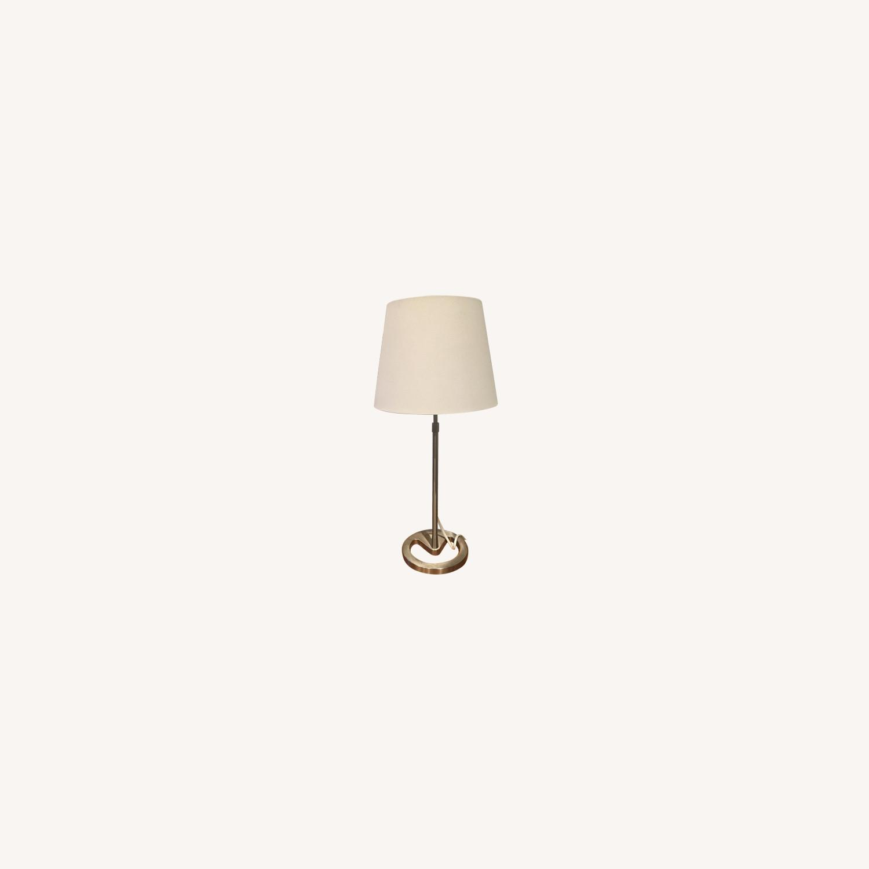 Metal Base Table Lamp w/ Linen Shade - image-0