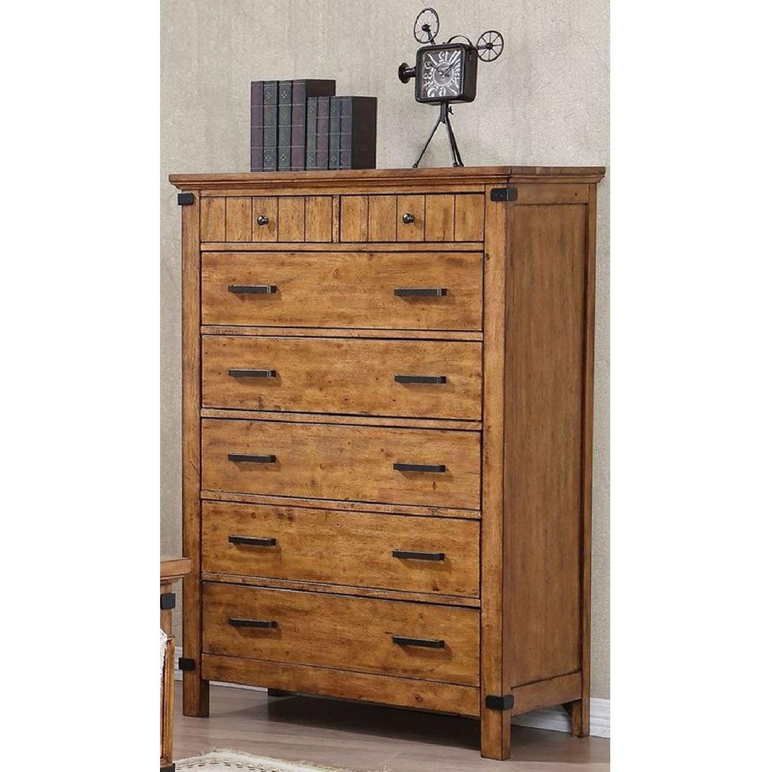 Rustic Style Chest in Warm Honey Brown Finish - image-3