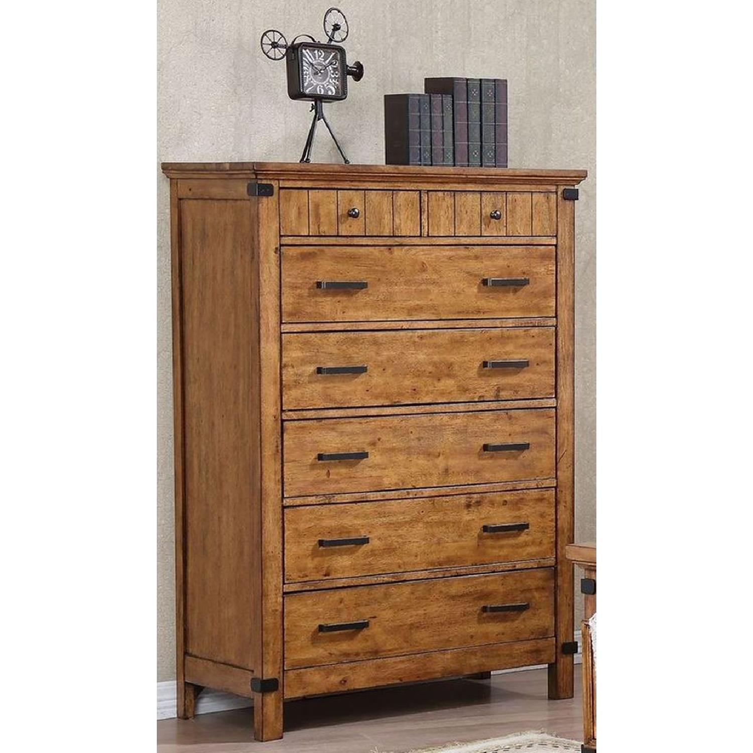Rustic Style Chest in Warm Honey Brown Finish - image-4