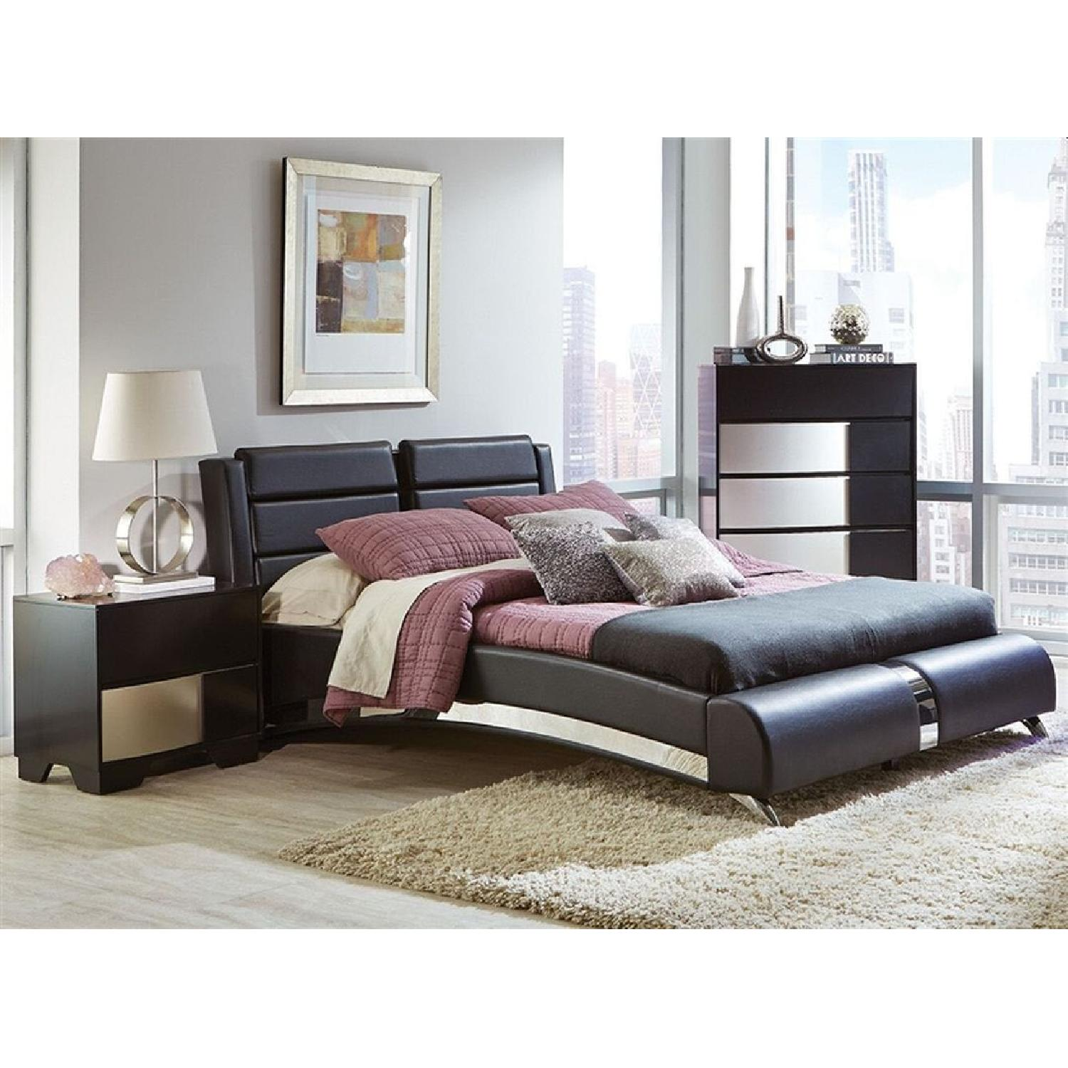 Queen Platform Bed In Black Leatherette w/ Chrome Accent - image-3