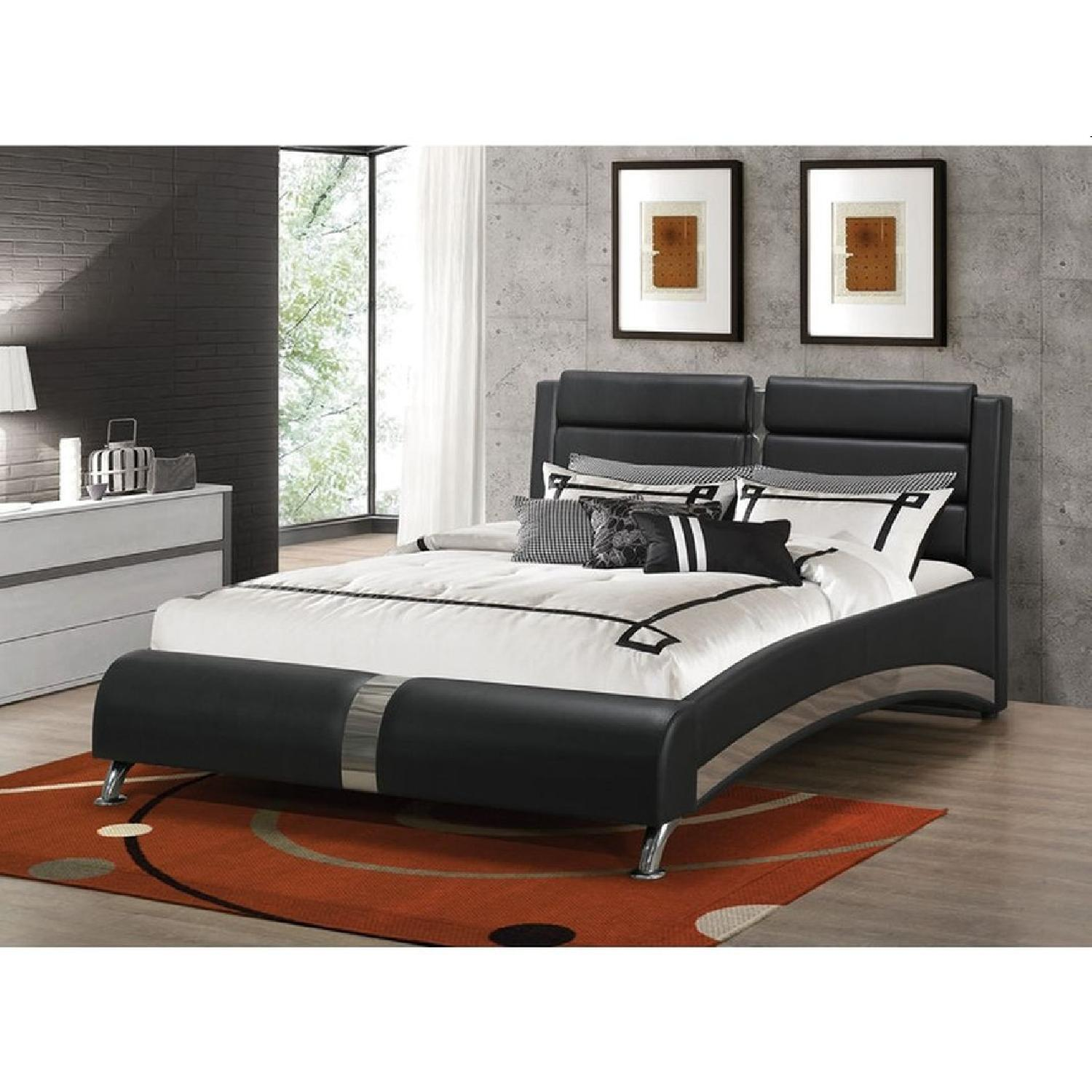 King Platform Bed In Black Leatherette w/ Chrome Accent - image-3