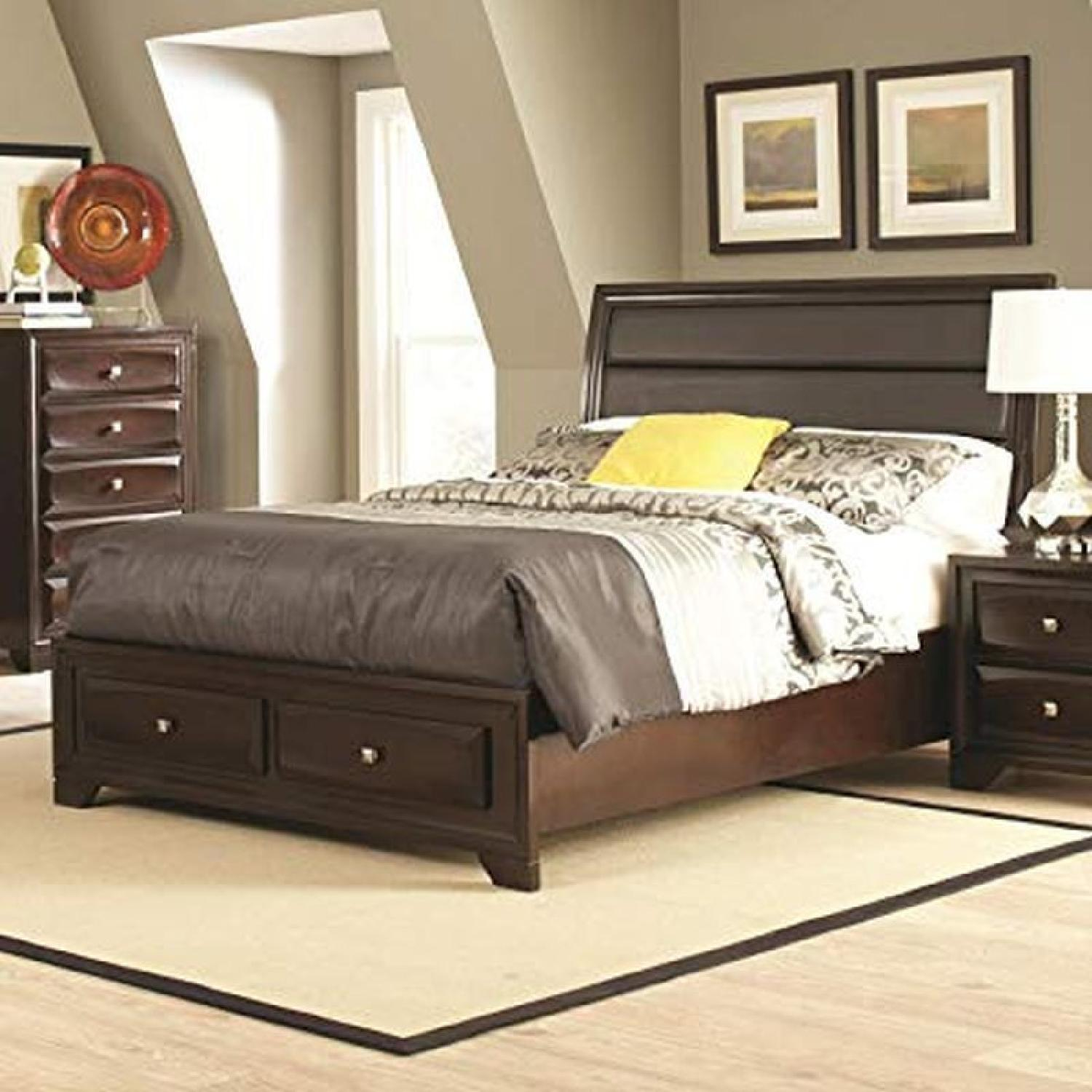 Queen Platform Bed w/ Drawers & Leatherette Headboard - image-2