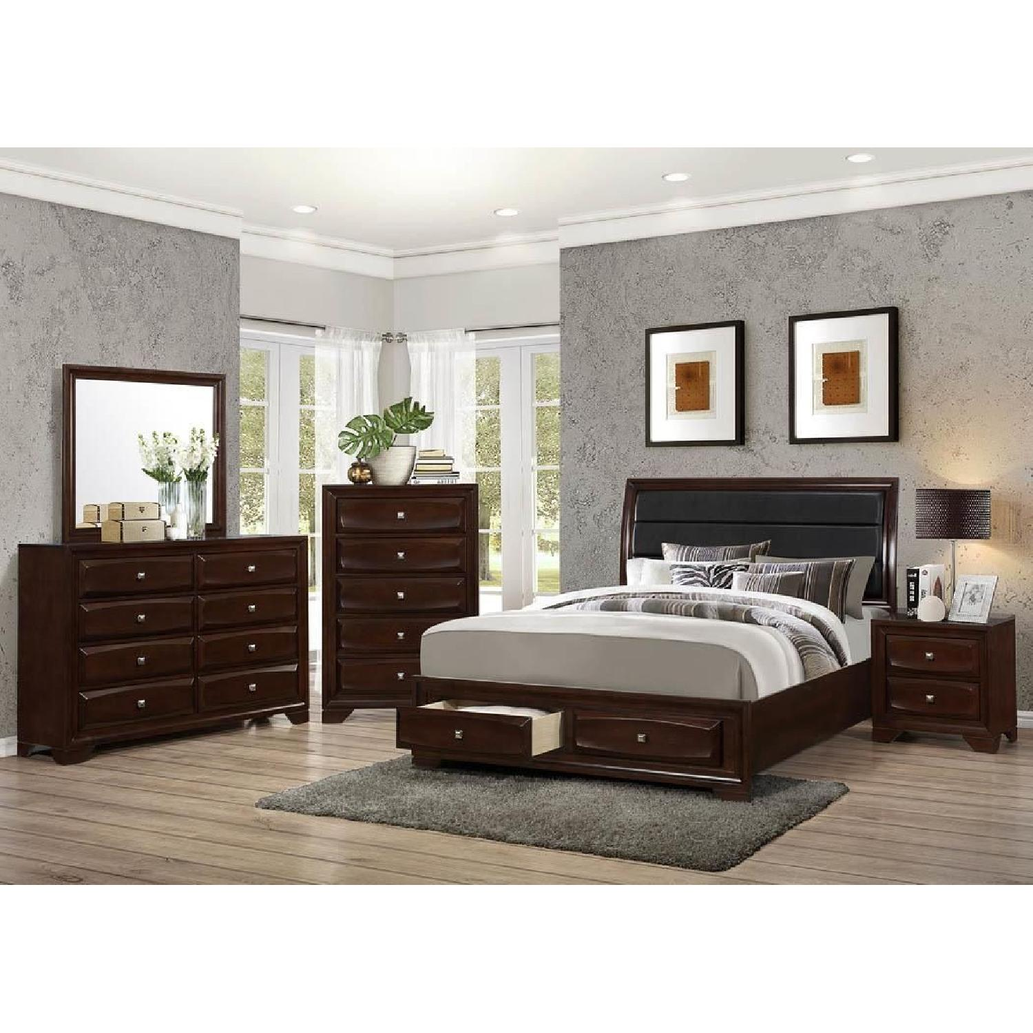 Queen Platform Bed w/ Drawers & Leatherette Headboard - image-3