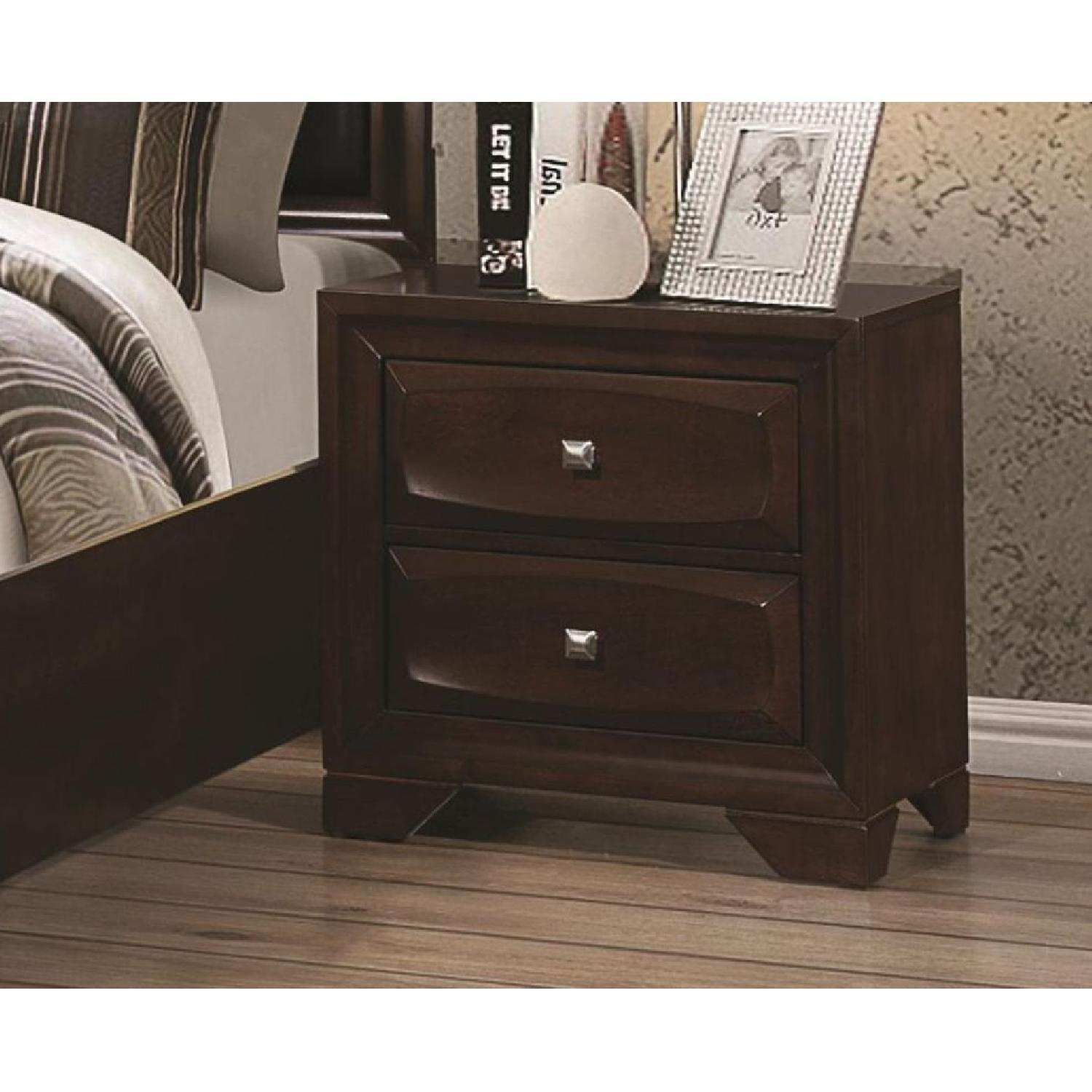 Nightstand in Cappuccino w/ Drawer Front Design - image-2
