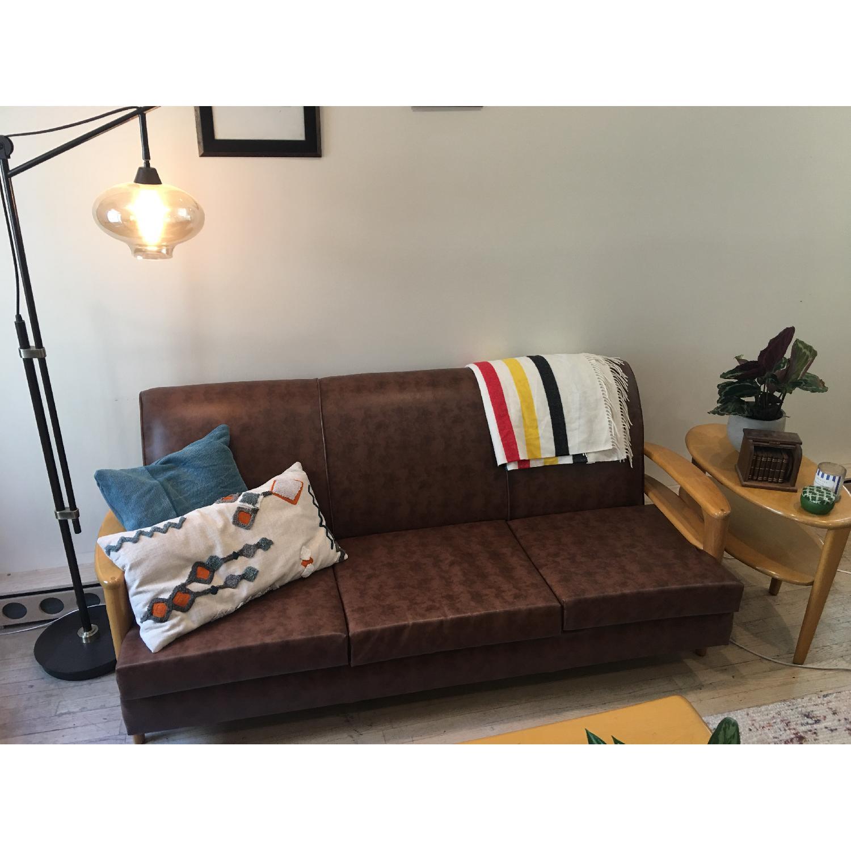 Heywood Wakefield Brown Leather Sofa - image-1