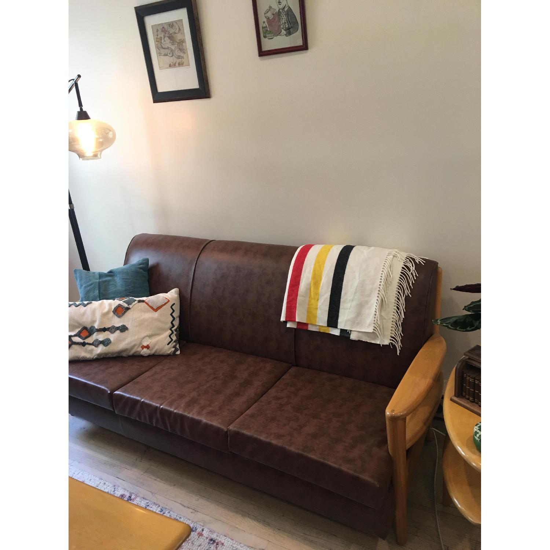 Heywood Wakefield Brown Leather Sofa - image-2