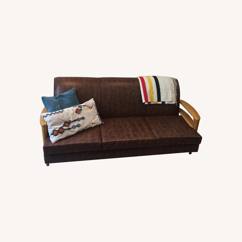 Heywood Wakefield Brown Leather Sofa - image-0