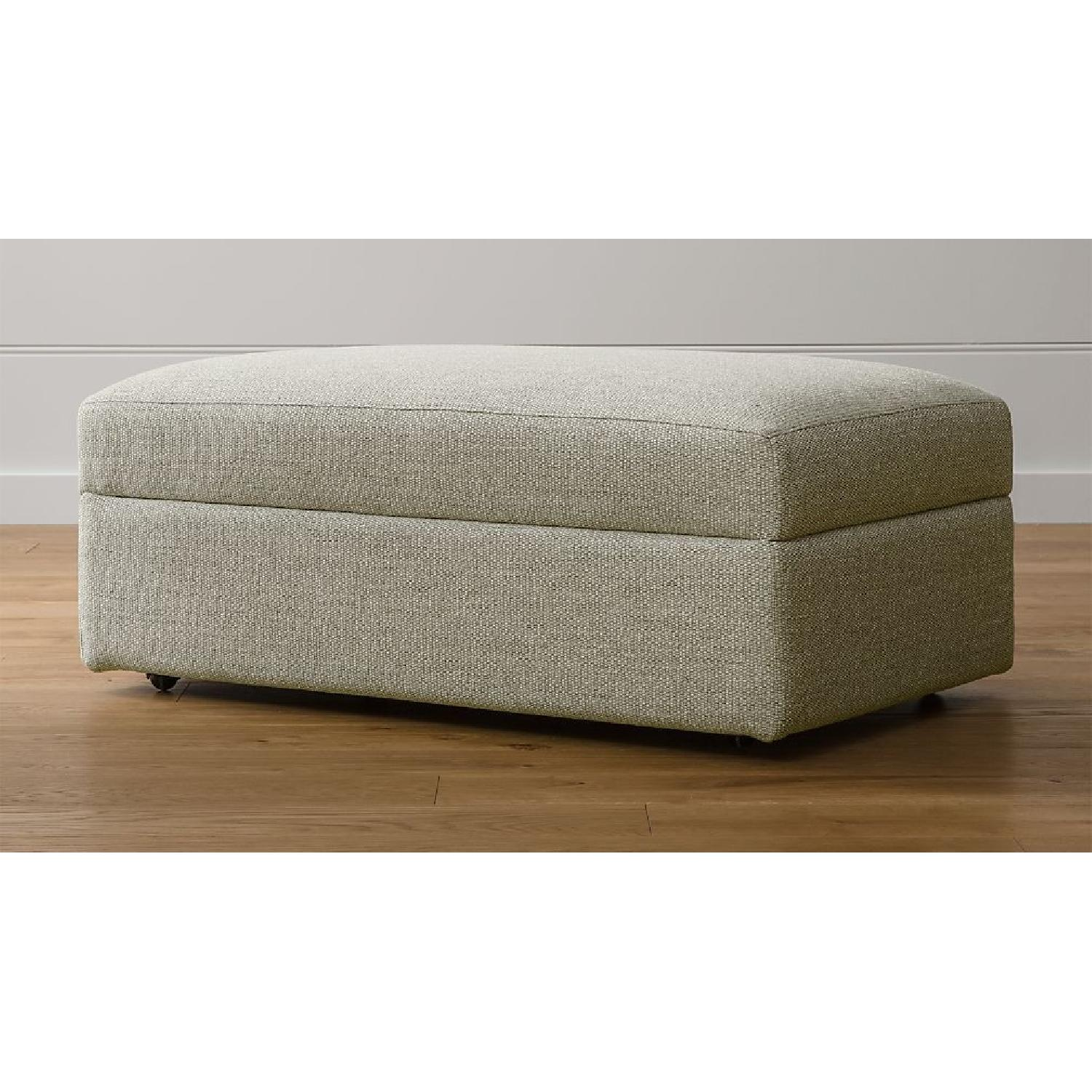Crate & Barrel Lounge II Ottoman and a Half w/ Casters - image-1