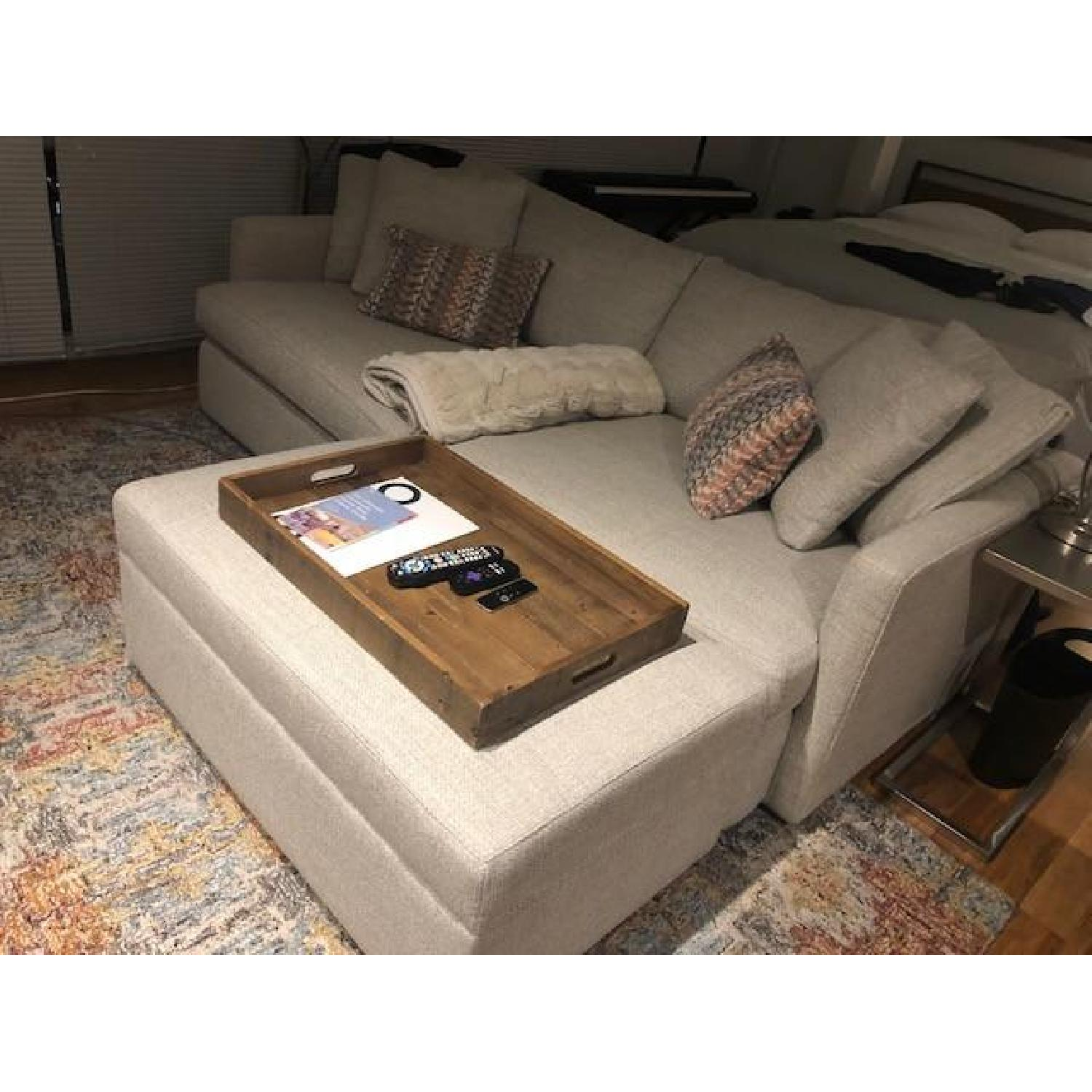 Crate & Barrel Lounge II Ottoman and a Half w/ Casters - image-2