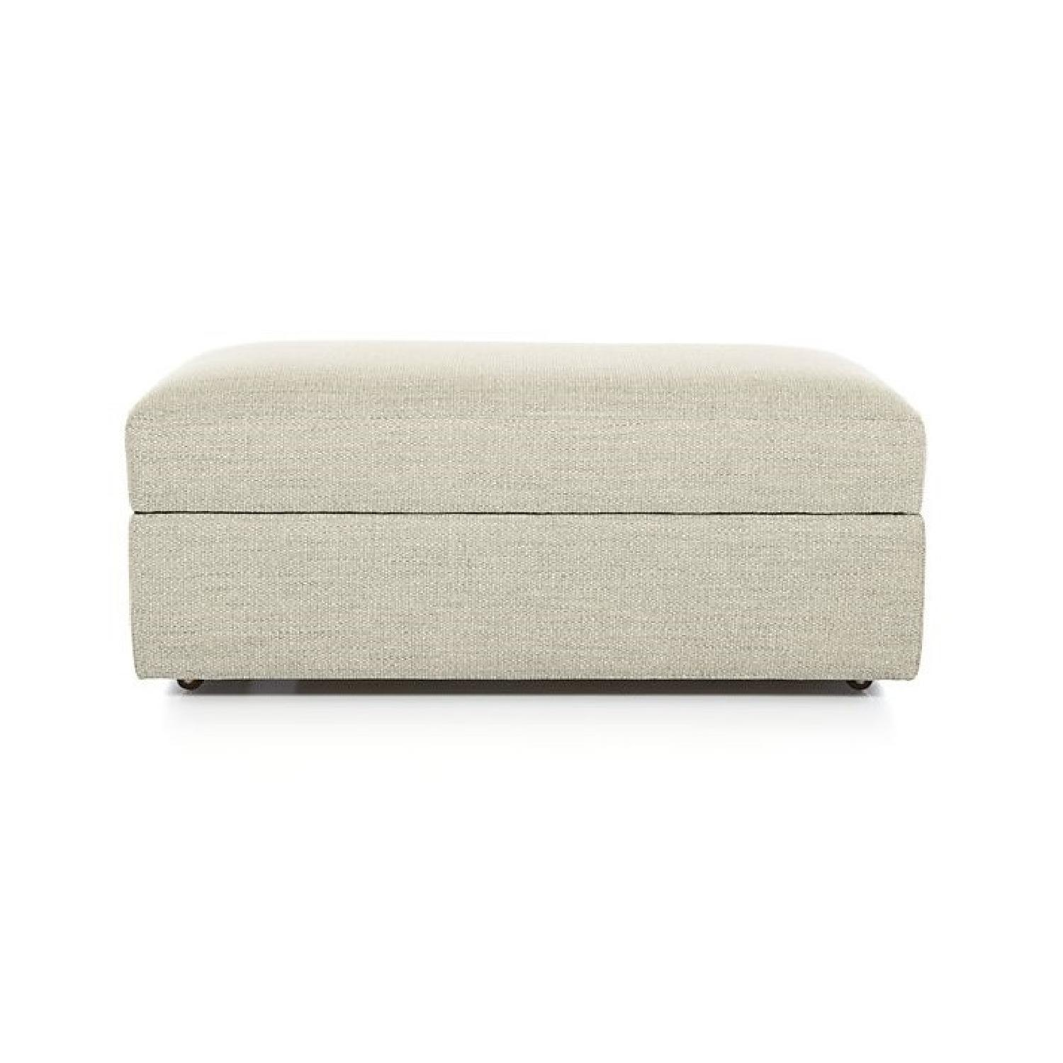 Crate & Barrel Lounge II Ottoman and a Half w/ Casters - image-0