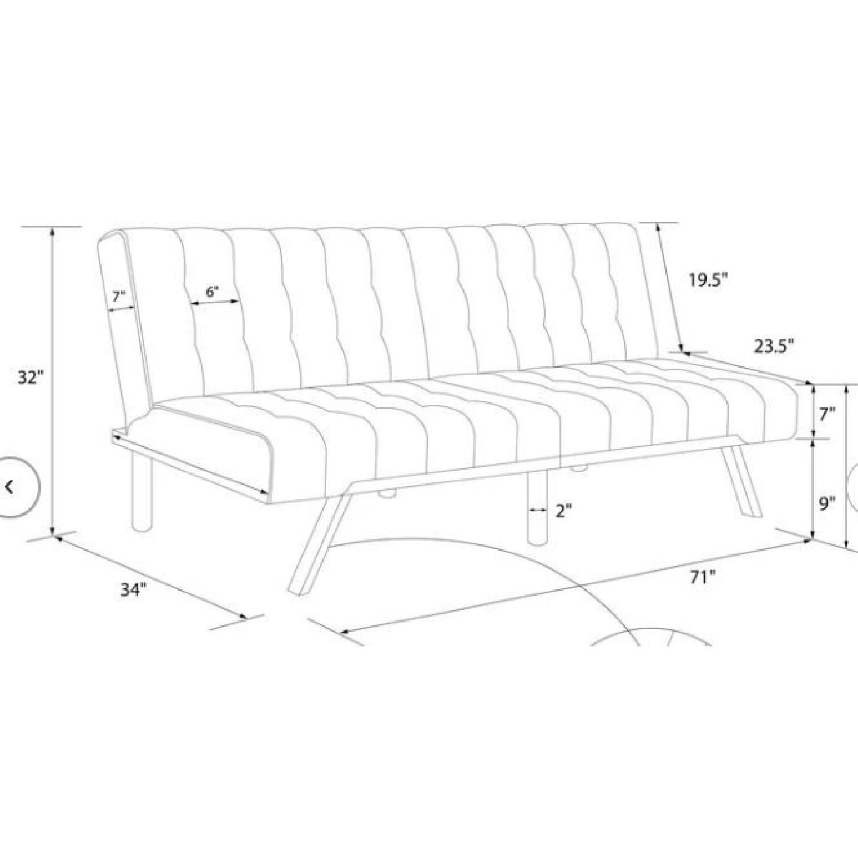 Burgundy Velvet Convertible Sofa - image-2