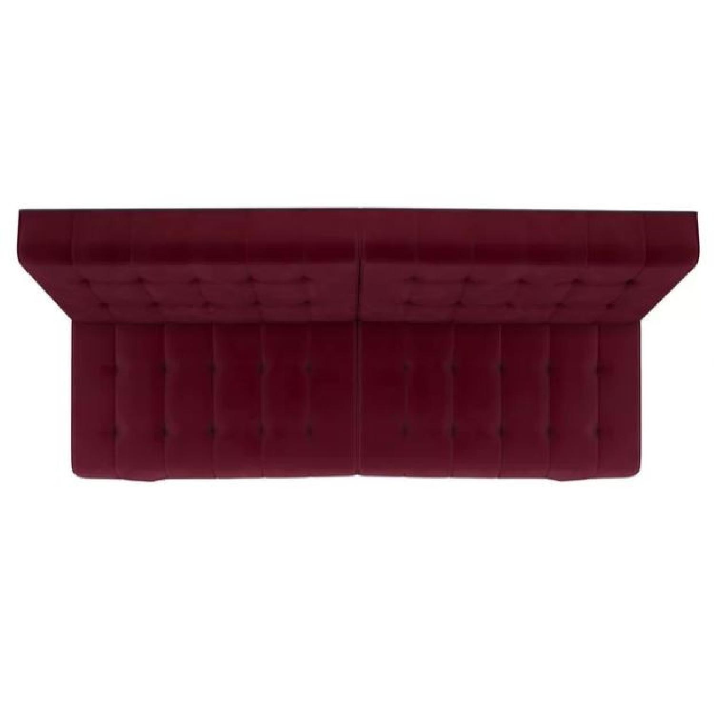 Burgundy Velvet Convertible Sofa - image-3