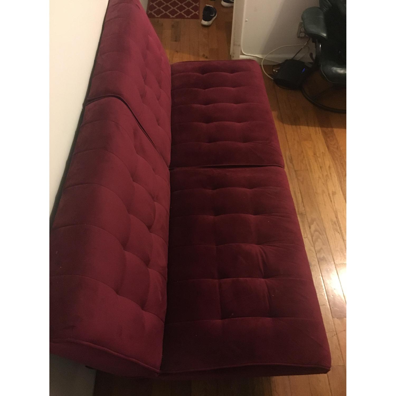 Burgundy Velvet Convertible Sofa - image-4