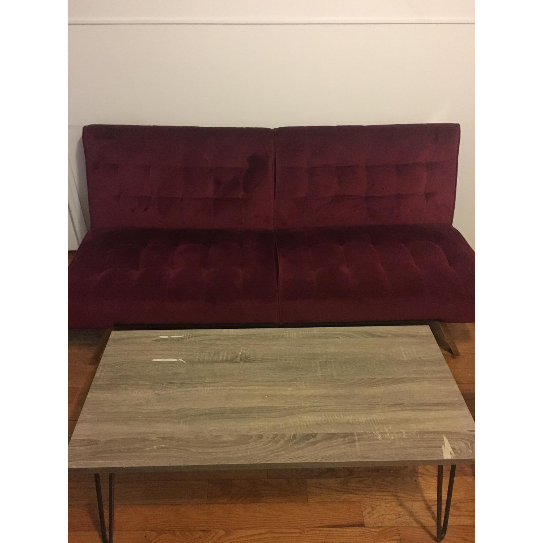 Burgundy Velvet Convertible Sofa - image-5