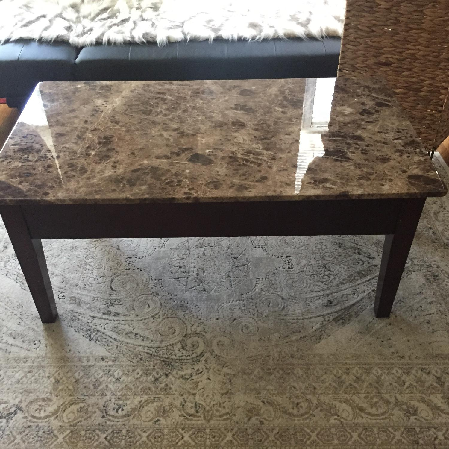 Faux Marble Top & Wood Lift Top Coffee Table - image-1