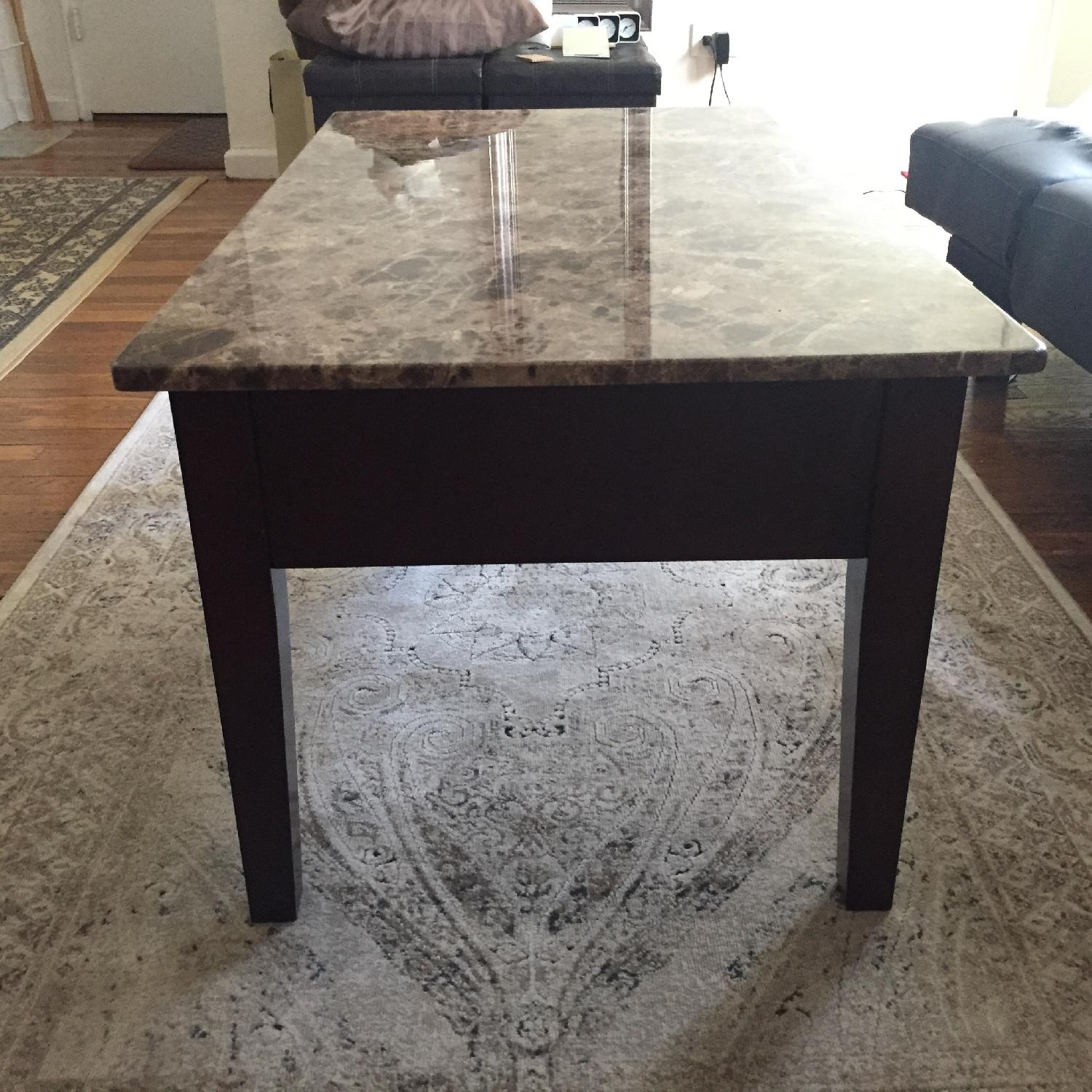 Faux Marble Top & Wood Lift Top Coffee Table - image-3