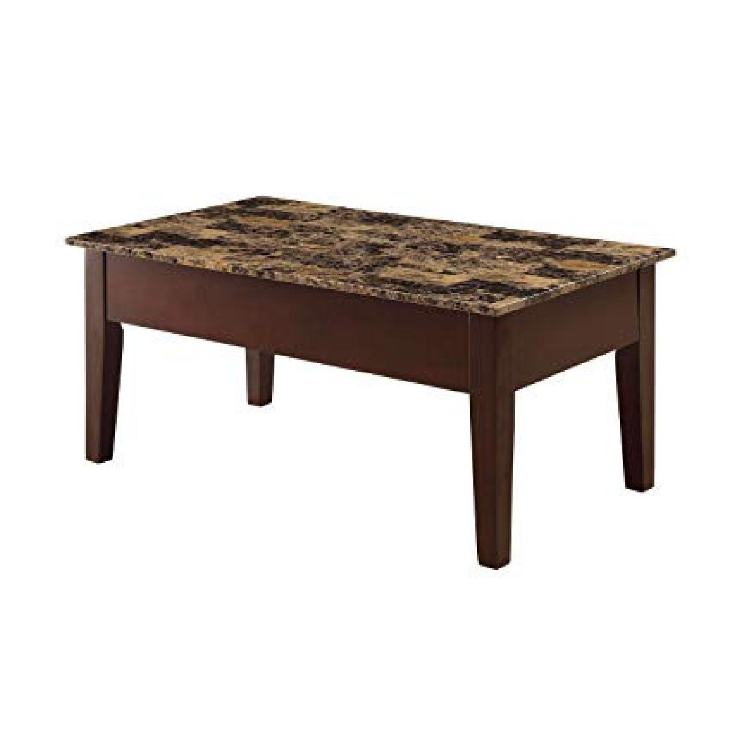 Faux Marble Top & Wood Lift Top Coffee Table - image-0