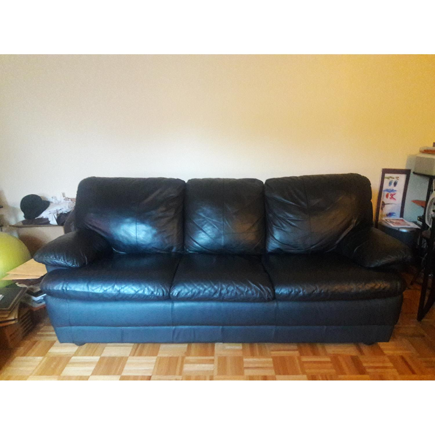 Black Leather Sofa - image-1