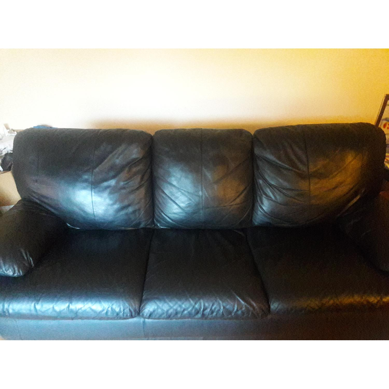 Black Leather Sofa - image-3