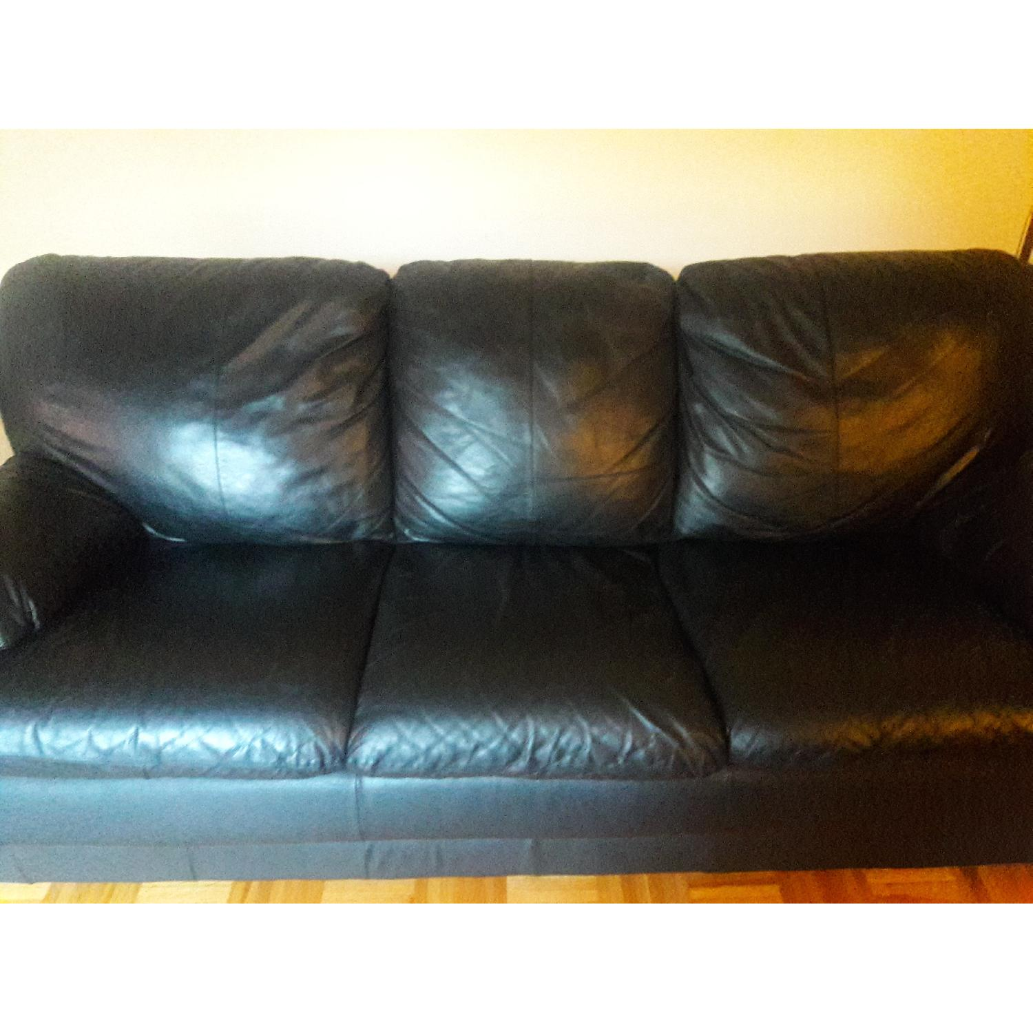 Black Leather Sofa - image-2
