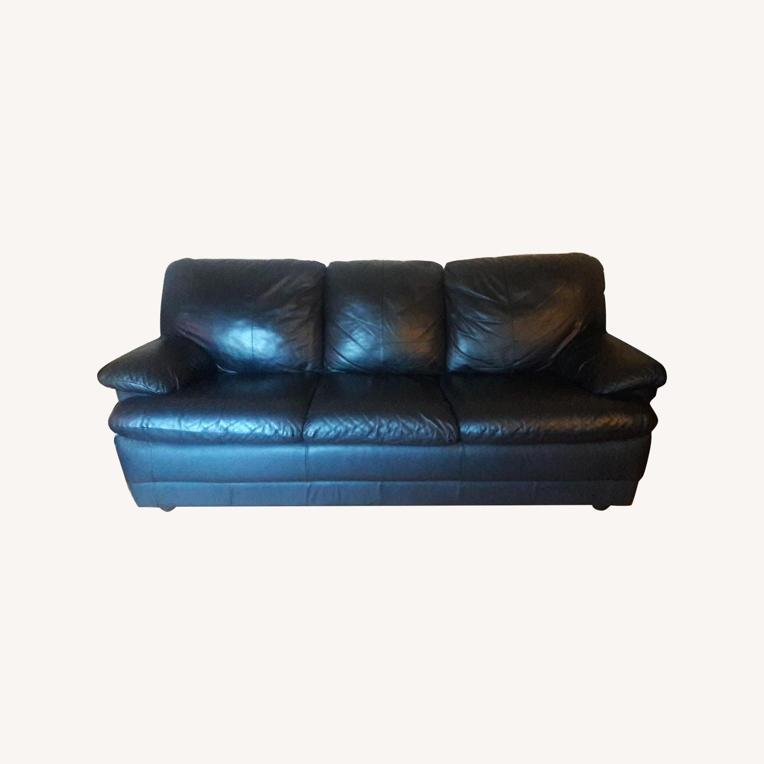 Black Leather Sofa - image-0
