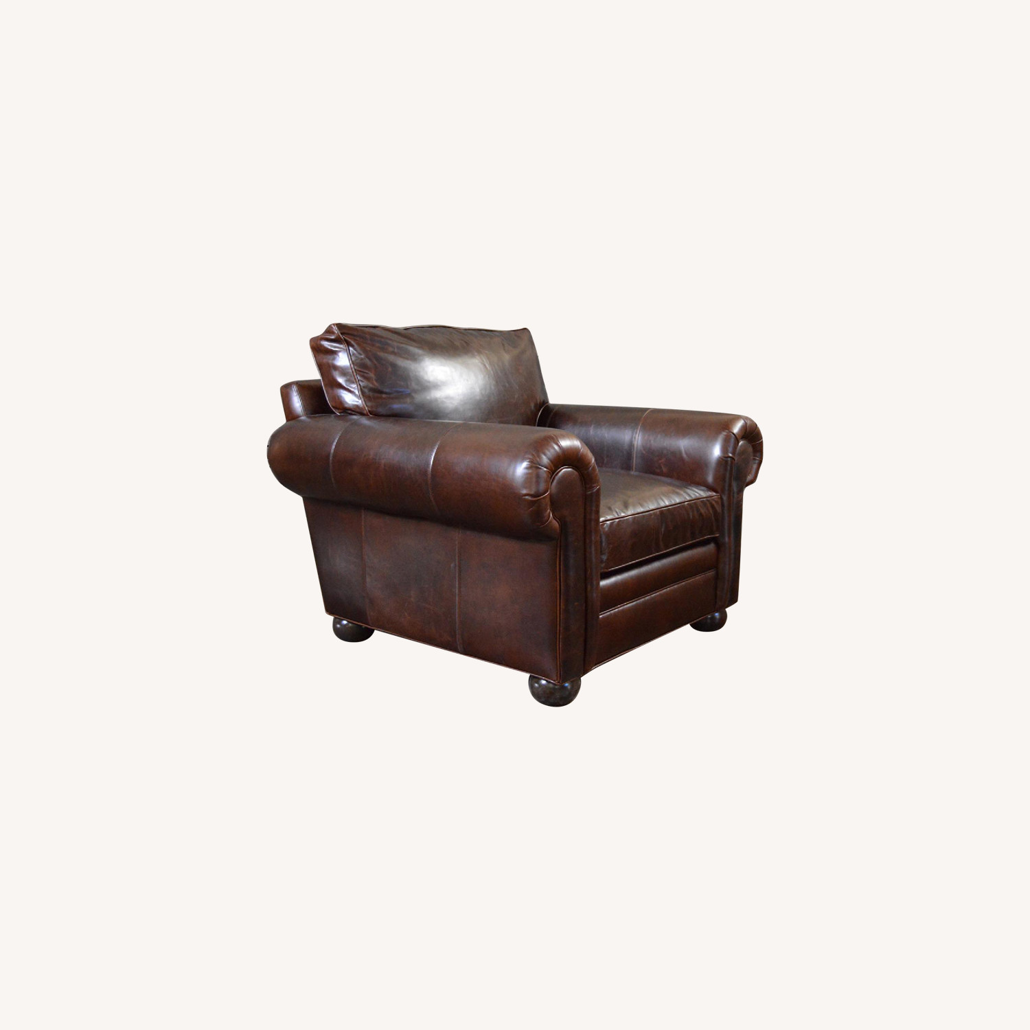 Leather Groups Langston Brown Leather Chair & Ottoman