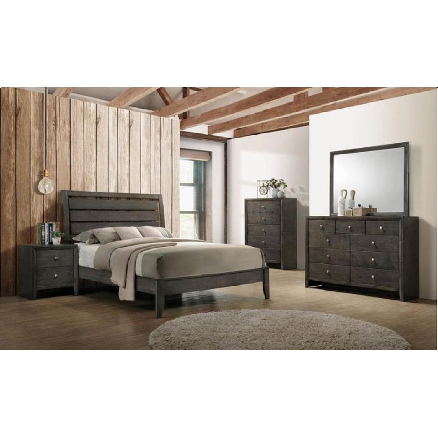 Modern King Bed w/ Clean Lines in Dark Grey Finish - image-2