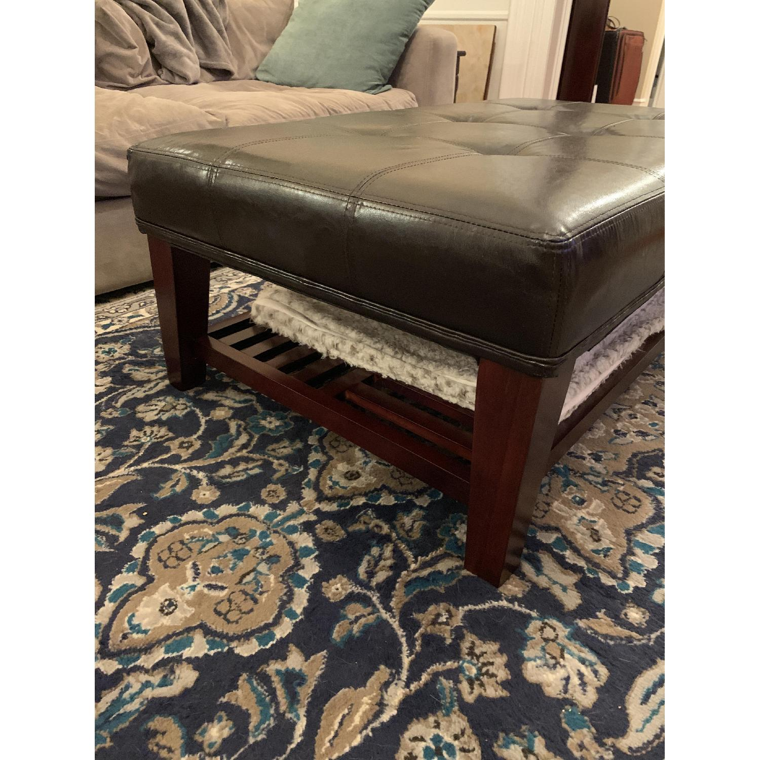 Dark Brown Faux Leather Ottoman - image-4