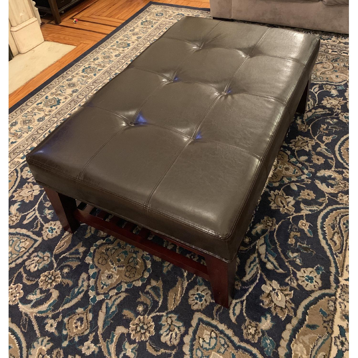 Dark Brown Faux Leather Ottoman - image-2