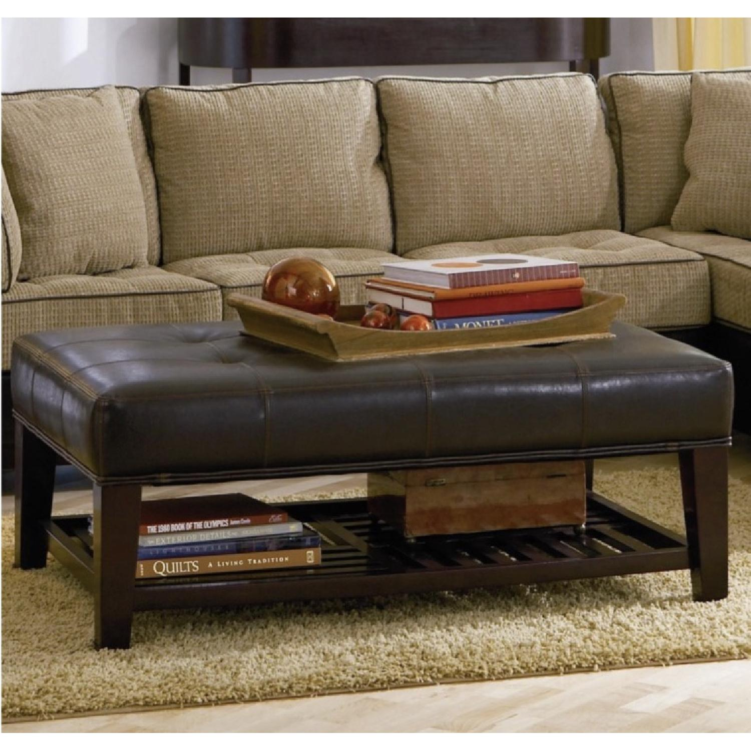 Dark Brown Faux Leather Ottoman - image-1