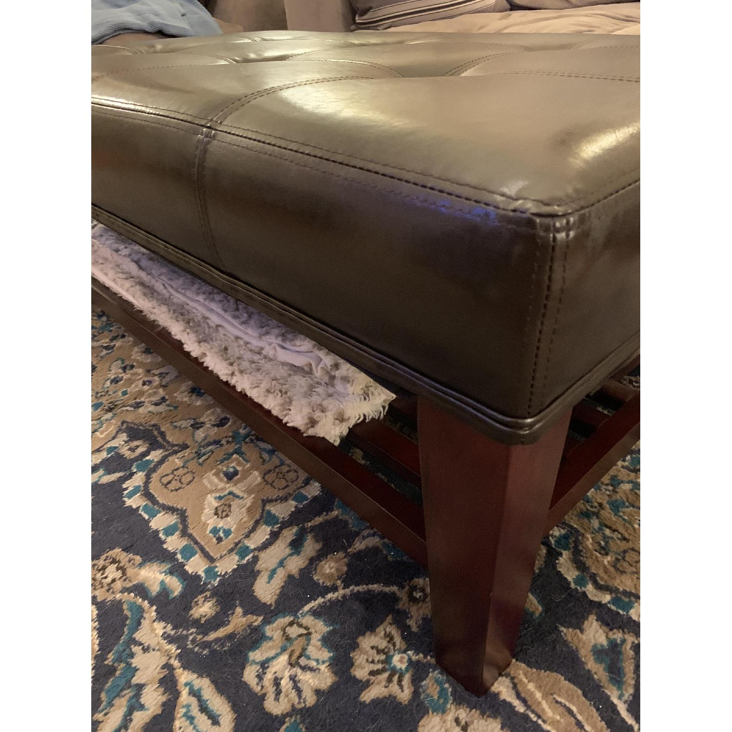 Dark Brown Faux Leather Ottoman - image-3
