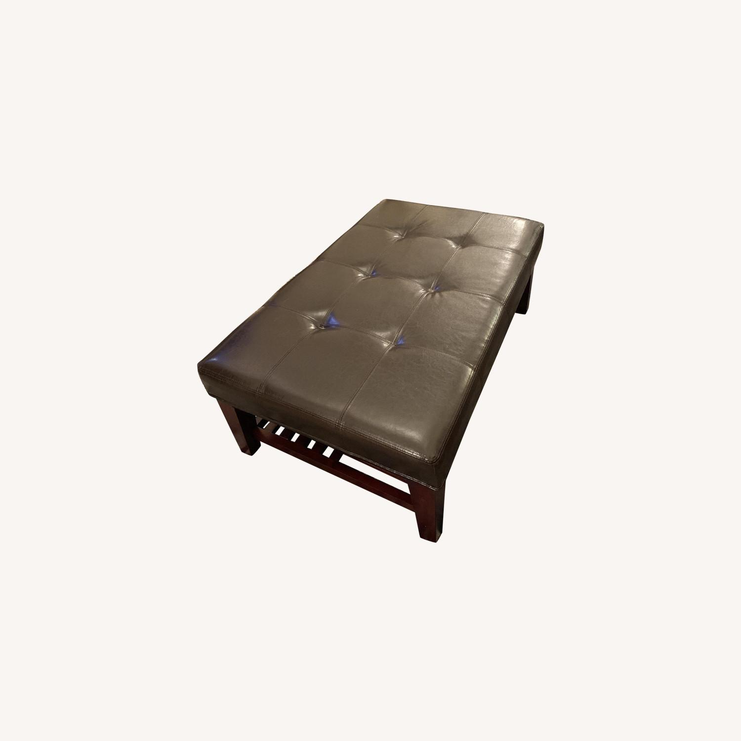 Dark Brown Faux Leather Ottoman - image-5