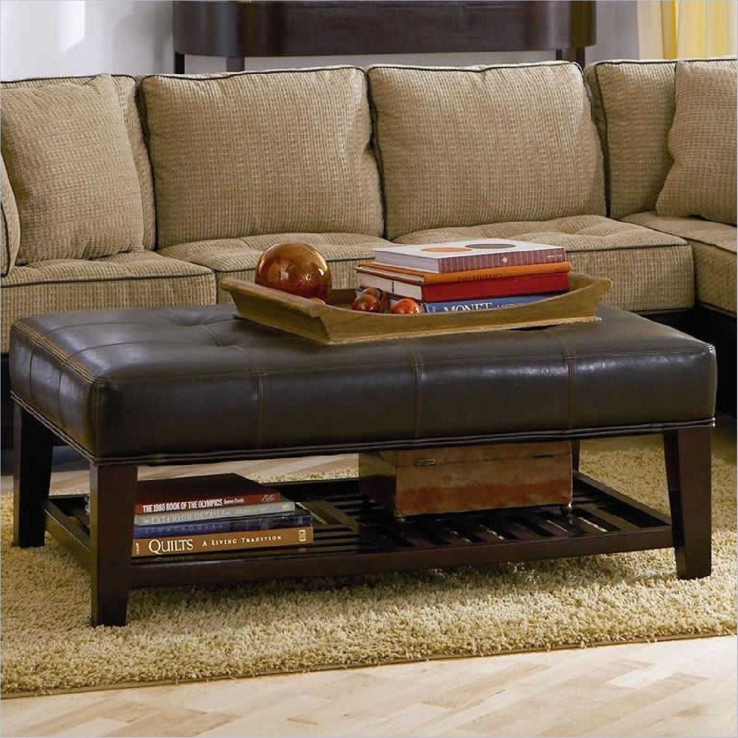 Dark Brown Faux Leather Ottoman - image-0