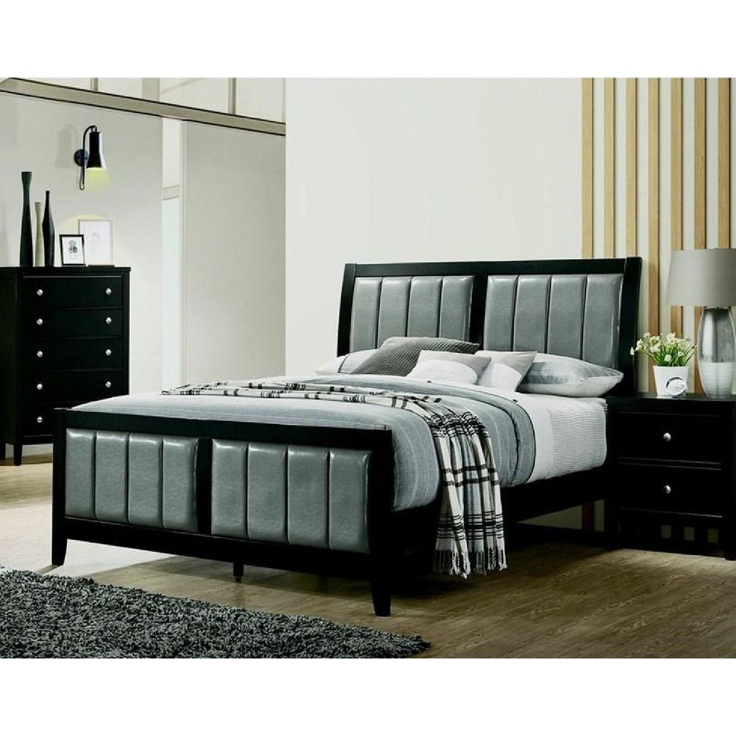Queen Bed in Black Wood Frame w/ Grey Leatherette Headboard - image-5