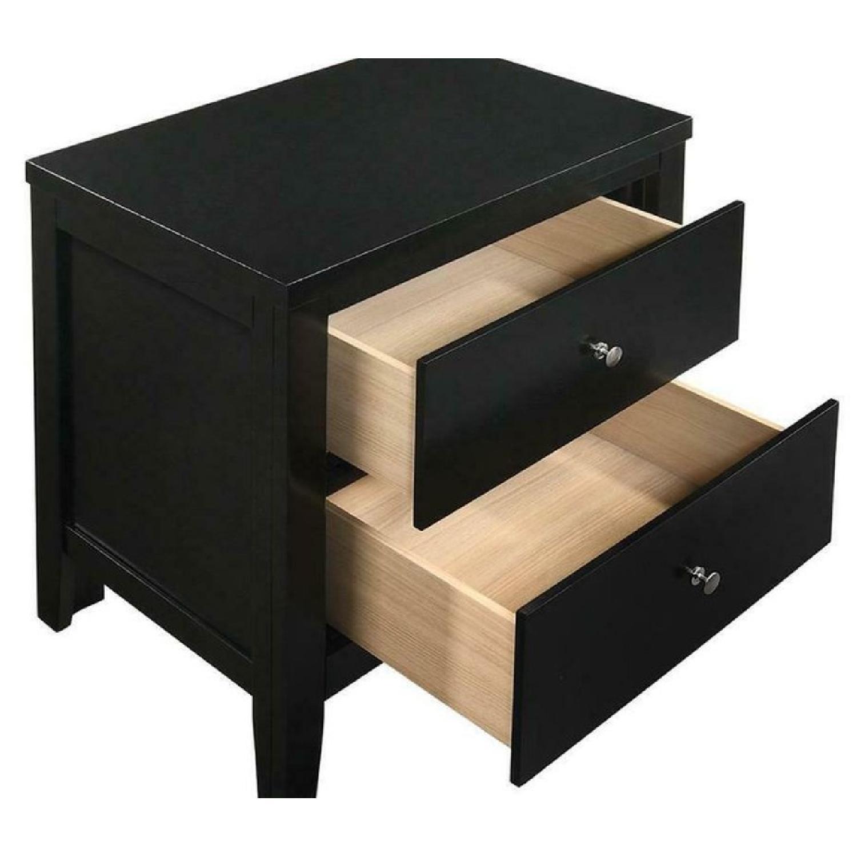 Black 2-Drawer Nightstand w/ Nickel Finish Knobs - image-2