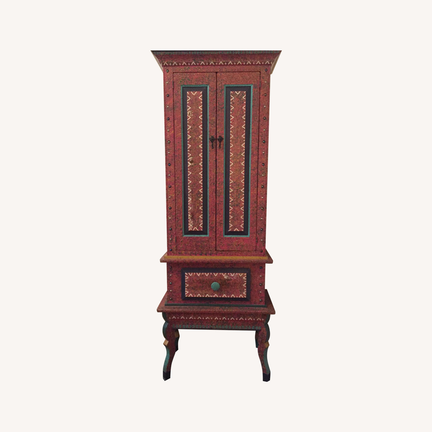 SouthWest Style Hand-Painted Tall Cabinet