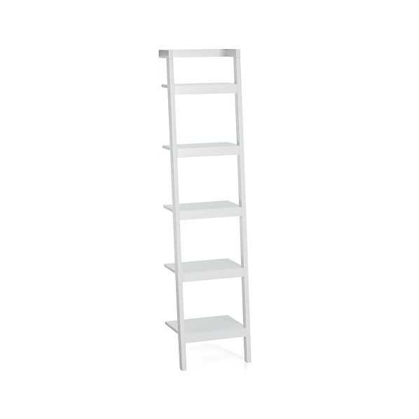 Crate & Barrel Sawyer White Leaning Bookcases