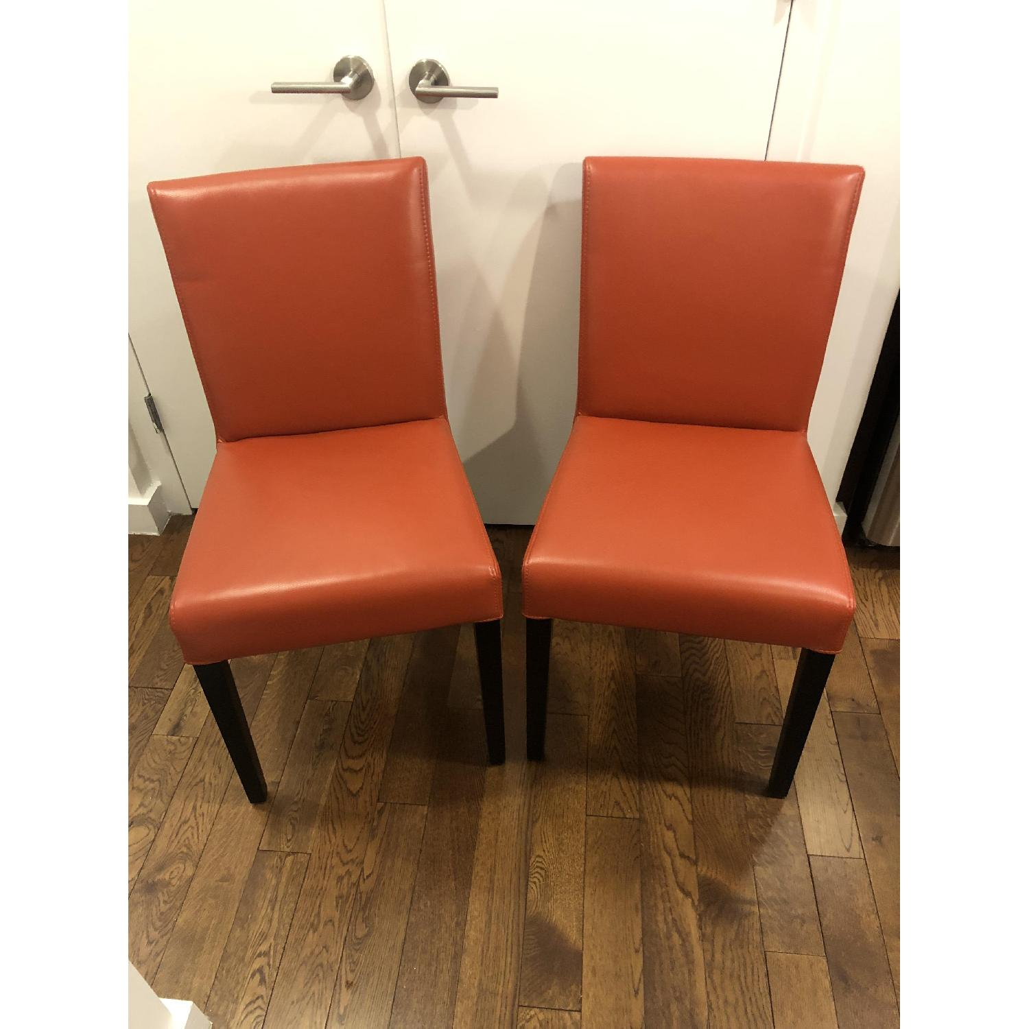 Crate & Barrel Lowe Persimmon Dining Chairs - image-1